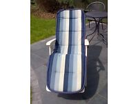 High back metal framed garden recliner chairs (4 off) with padded seat cushions