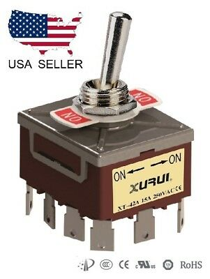 Heavy Duty 4pdt On-on Toggle Switch 20a 125v 15a 250v Spade Terminals 42a