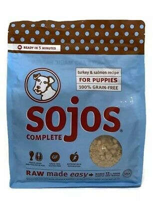 Sojos Complete Turkey & Salmon Recipe for Puppies 4 lb Bag Raw Food Best by