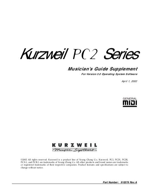 Kurzweil PC2 PC2X MUSICIAN S GUIDE And VERSION 3 SUPPLEMENT MANUAL - $19.95
