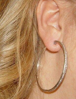 (BIG 2.75CT Diamond Hoop Filigree Earrings 14K  gold 2.0