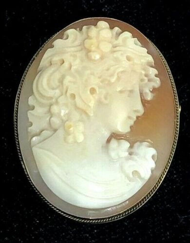 SIGNED 750 18K SOLID YELLOW GOLD & CARVED CAMEO PIN PENDANT
