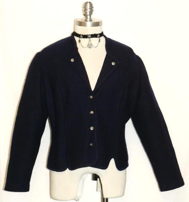 "BOILED WOOL Dark BLUE JACKET Sweater Women German Austria Walk Car 10 M B40"""