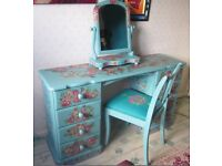 Dressing Table Chair & mirror hand painted in Annie Sloan paint