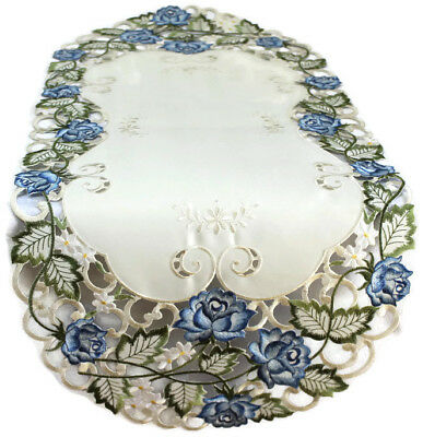 Doily Boutique Table Runner, Doily, Mantel Scarf with Victorian Blue (Roses Table Runner)