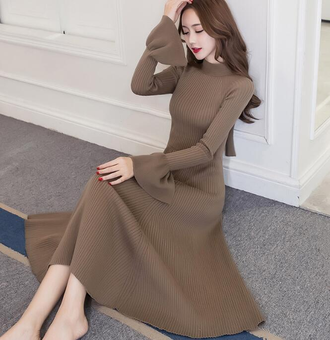 Купить Unbranded - Sexy Womens Sweater Dress Swing Warm Retro Pullover Flare Sleeve Gown Maxi P624