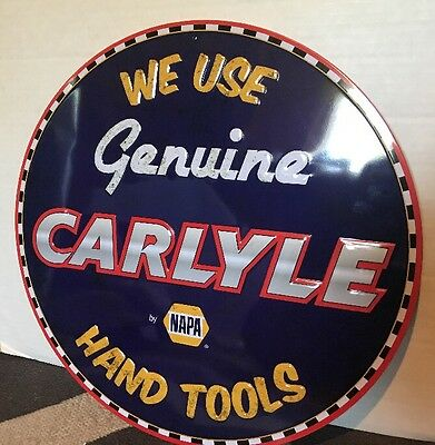 "Napa Car Parts Store Carlyle Hand Tools Gas Oil 16"" Embossed Metal Sign New"