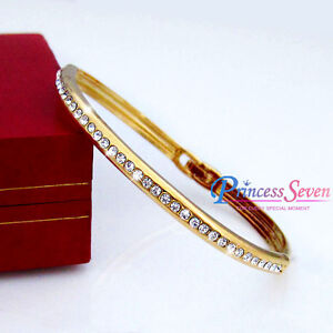 18k yellow gold filled simulated diamond solid ladies bracelet bangle jewellery