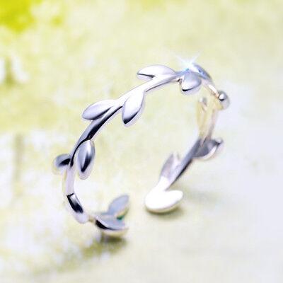 Damen Ring Olivenzweig echt Sterling Silber 925 größenverstellbar 43-47 offen