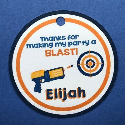 - 12 Personalized NERF guns Birthday party favor tags! Thank you, thanks, a BLAST!
