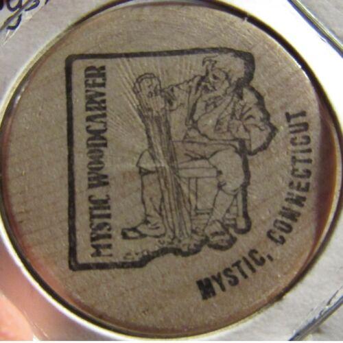 Vintage Mystic Woodcarver Mystic, CT Wooden Nickel - Token Connecticut