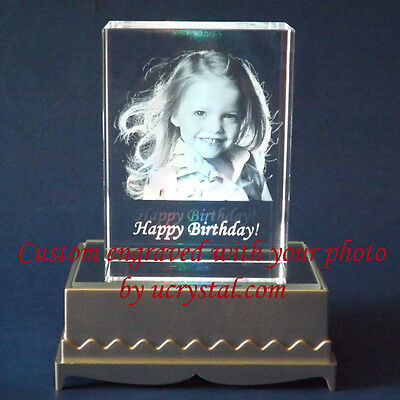 Personalized 2D or 3D laser etched engraved custom photo crystal engraving -