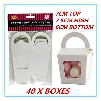 Window Treat Boxes (40 X WHITE PARTY SWEET TREATS FAVORS CANDY LOLLY BOXES DUAL SIDED WINDOW FACED)