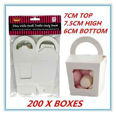 Window Treat Boxes (200X WHITE PARTY SWEET TREATS FAVORS CANDY LOLLY BOXES DUAL SIDED WINDOW FACED)