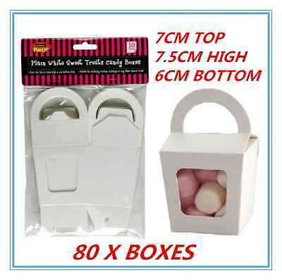 Window Treat Boxes (80 X WHITE PARTY SWEET TREATS FAVORS CANDY LOLLY BOXES DUAL SIDED WINDOW FACED)