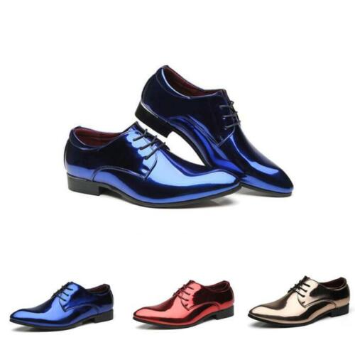 Mens Leather Wing Tip Business Dress Shoes Formal Pointy Metal Toe Club CHic New