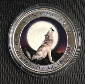 RCM HOWLING WOLF – MOON – 2017 3/4 OZ PURE SILVER COLOR COIN