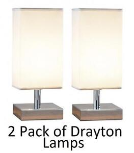 Drayton Touch Table Lamp Polished Chrome Finish + Cream Lamp Shade 2 Pack by DAR