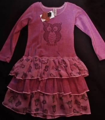 Girl's Dress Pull-over 3T Mignone Purple Owls Long-sleeve Ruffles Cotton Polystr