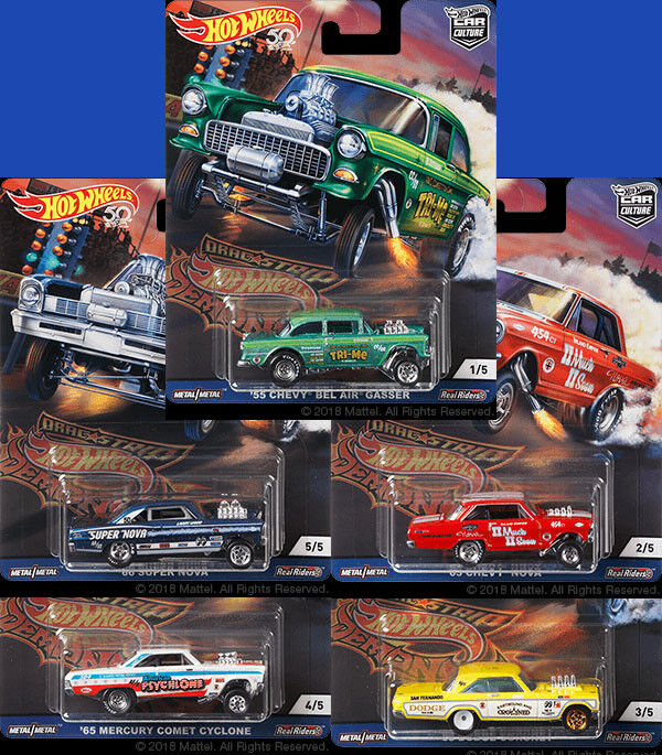 2018 HOT WHEELS CAR CULTURE DRAG STRIP DEMONS SET OF 5 FPY86-956F