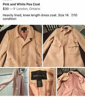 Pink and White Knee Length Coat