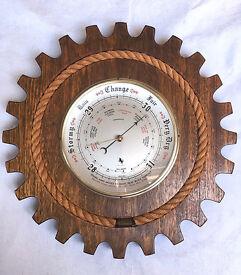 Large Solid Wood Barometer