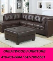** BONDED LEATHER SECTIONAL SOFA WITH FREE STORAGE OTTOMAN..$699