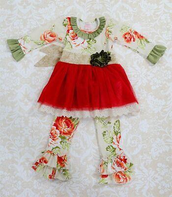 New Giggle Moon Pearl Gates Holiday Tutu Dress Set Legging Baby 3 6 9 12 months