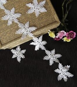 Snowflake guipure lace applique trim 1mt (100cm) off white UK Seller