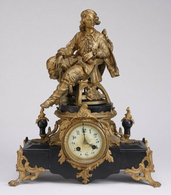 Antique French Figural Bronze finish Metal Marble Mantel Clock