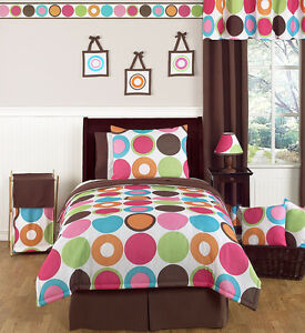 SWEET JOJO DESIGNS POLKA DOT GIRL TEEN KID TWIN SIZE BED ROOM LUXURY BEDDING SET
