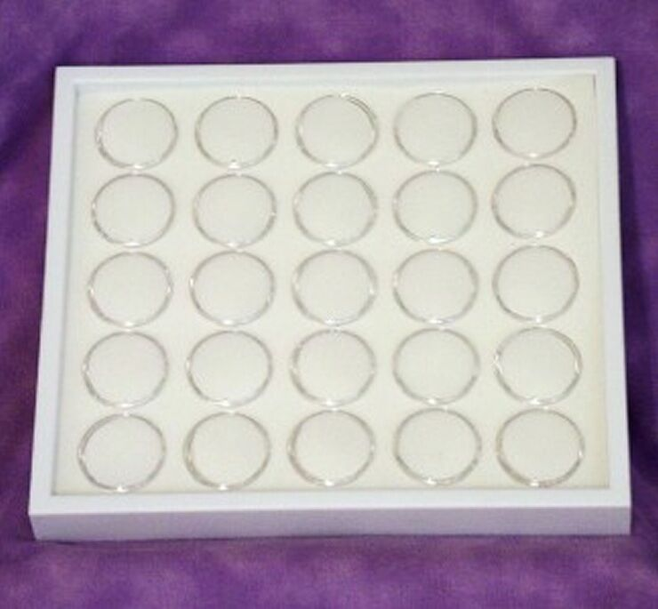 GEM TRAY STACKABLE 25 SPACE WHITE FOAM & WHITE TRAY