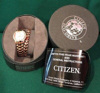 Citizen Eco-Drive Watch & Bracelet Set Rose Gold Silhouette Mother of Pearl Date (Citizen Set Bracelet)