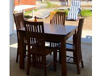 Solid Wood table & 4 Chairs perfect condition bespoke made.