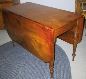 ANTIQUE TABLE–CIRCA 1880–PINE-'DROP LEAF'-'GATE-LEG'