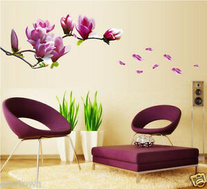 Magnolia fleur sticker mural diy d cor salon sofa tv salle - Stickers salle a manger ...