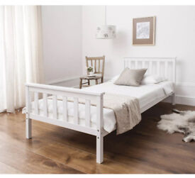 Luxury Single white wooden bed- like new