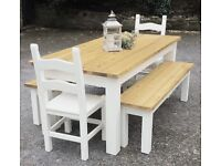 NEW HANDMADE PINE FARMHOUSE TABLE BENCHES AND CHAIRS