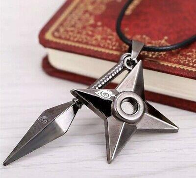 """Naruto Kunai Shuriken Necklace Pendant Anime Cosplay 2"""" Silver US Seller"""