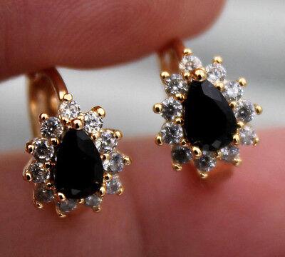 Topaz Onyx - 18K Yellow Gold Filled - Flower Waterdrop Black Onyx Topaz Women Hoop Earrings