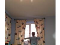 Hand-made Tractor curtains for boy bedroom (Laura Ashley materials)