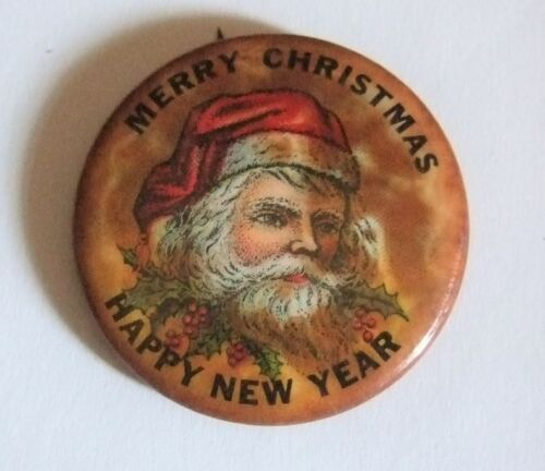 Merry Christmas Santa Claus Button Happy New Year Vintage Santa Button Rare