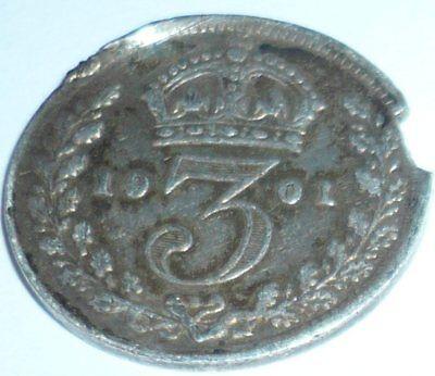 1901 Three pence some damage.
