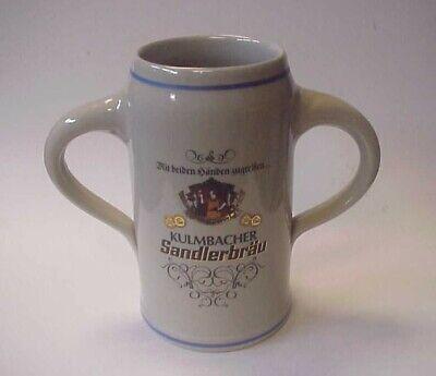 Vintage Kulmbacher Sandlerbrau 1L Double Handle Stoneware Beer Stein