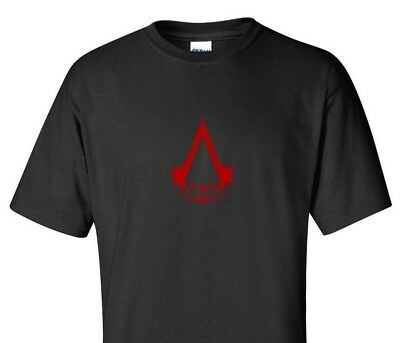 American Brotherhood of Assassins Red Logo Creed Gamer Black T-shirt