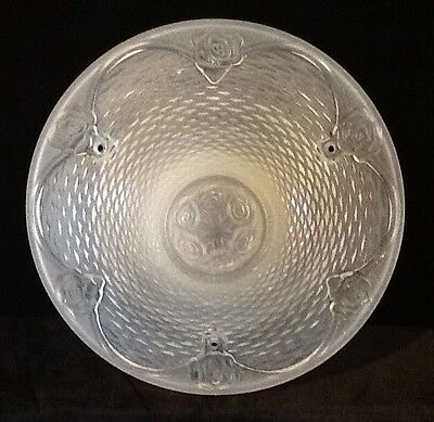Vintage Frosted Basket Weave Glass Ceiling Light Fixture Shade W/ Roses