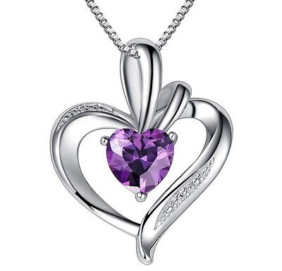 Sterling Silver Necklace Chain Amethyst Crystal Heart Purple Pendant Gift Box E4 - Purple Gifts