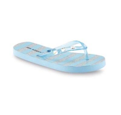 Joe Boxer Girl's Maddie Turquoise/Striped Flip-Flop Sandal Sparkle Size