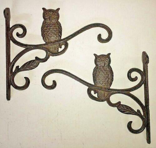 """2 OWL Plant Hanger flower basket holders up to 16"""" pot lantern hook brown bronze"""