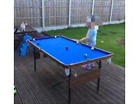 Pool/snooker table great con.triangle both sets of balls and rest 2cues included no rips/scuffs